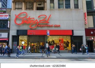 NEW YORK - OCT 24: Facade of Century 21 department store on Oct 24, 2016 in Manhattan, New York, USA.