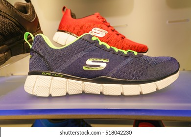 NEW YORK - OCT 25: Skechers shoe display at Skechers shop at Queen Center on Oct 25, 2016 in Queen, New York, USA.
