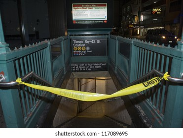 NEW YORK - OCT 28 : All subway system in New York closed due to the arrival of Hurricane Sandy on October 28 2012 in New York.