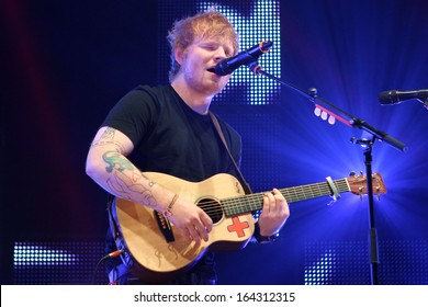 NEW YORK - OCT 29: Ed Sheeran performs in concert at Madison Square Garden on October 29, 2013 in New York City.