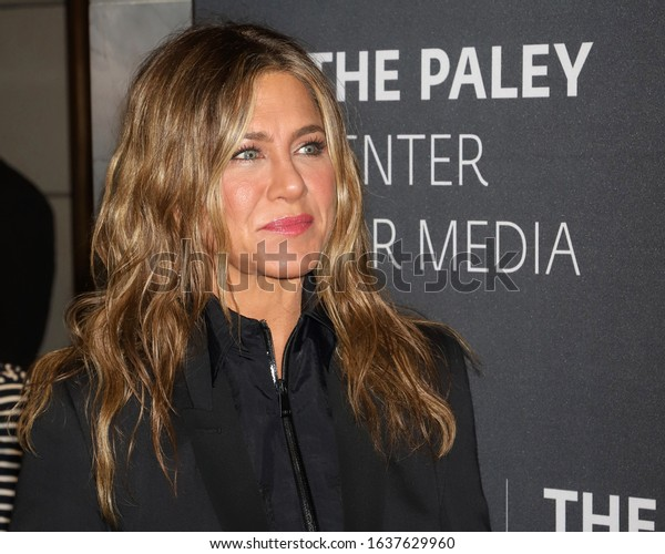 "NEW YORK - OCT 30, 2019: Jennifer Aniston appears at a promotional event for ""The Morning Show"" on October 30, 2019, in New York."