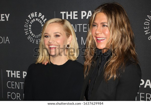 """NEW YORK - OCT 30, 2019: Reese Witherspoon and Jennifer Aniston appear at a promotional event for """"The Morning Show"""" on October 30, 2019, in New York."""