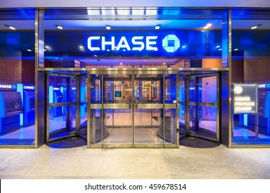 NEW YORK - OCT 31: Facade of Chase  Bank at Fifth Avenue on Oct 31, 2015 in New York, USA.