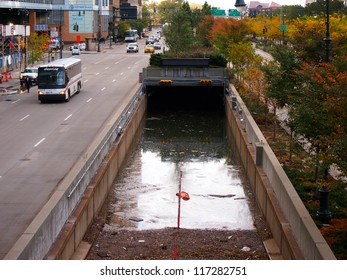 NEW YORK - OCT 31: A highway underpass to the Hugh L. Carey Tunnel (Brooklyn Battery Tunnel) is flooded on October 31, 2012 in New York City, NY. Superstorm Sandy shut down much of the city.