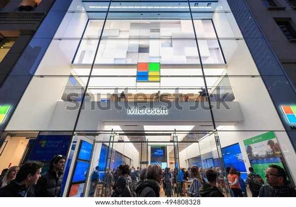 NEW YORK - OCT 31: Microsoft Store at Fifth Avenue on Oct 31, 2015 in New York. Its best known software products are the Microsoft Windows line of operating systems.