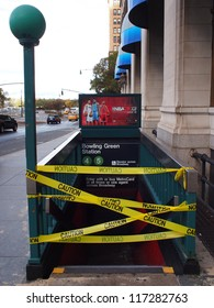 NEW YORK - OCT 31: A New York Subway station at Bowling Green is closed due to flooding on October 31, 2012 in New York City, NY. Superstorm Sandy shut down much of the city.