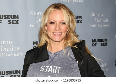 "NEW YORK - OCT 8, 2018: Stormy Daniels signs copies of her book ""Full Disclosure"" at the Museum of Sex on October 8, 2018, in New York City."