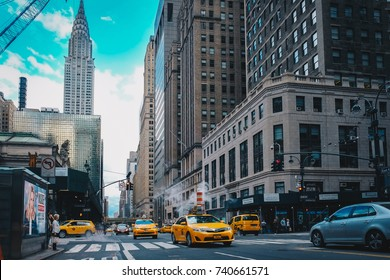 NEW YORK - October 1: Traffic near the Grand Central Station, the largest train station in the world by number of platforms, 44, with 67 tracks, on October 1, 2017, in New York.