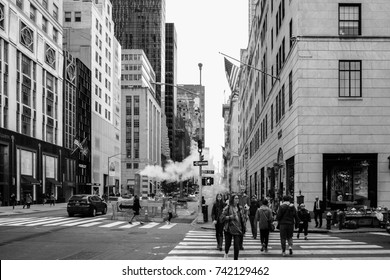 NEW YORK - October 1,2017:crowd of people walking along the famous fifth avenue in Manhattan, New York.