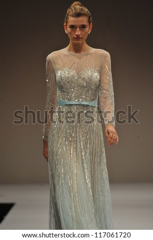 ce59ed99dee9 NEW YORK- OCTOBER 14: Model walks runway for Terani Couture Bridal  collection at Pier