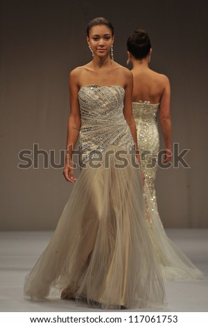 c1b8df9a5f38 NEW YORK- OCTOBER 14: Models walk runway for Terani Couture Bridal  collection at Pier