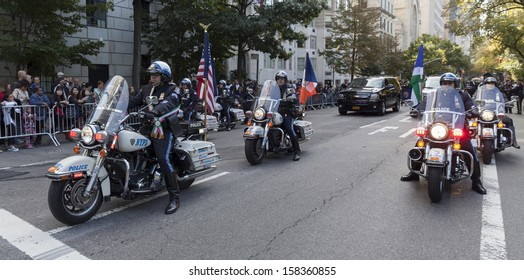 NEW YORK - OCTOBER 14: Police officers on motorcycles at annual Columbus Day Parade on 5th Avenue on October 14, 2013 in New York City