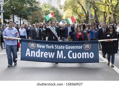 NEW YORK - OCTOBER 14: New York State Governor Andrew Cuomo attends annual Columbus Day Parade on 5th Avenue on October 14, 2013 in New York City