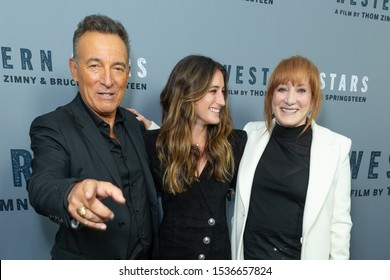 """NEW YORK, NEW YORK - OCTOBER 16: Bruce Springsteen, Jessica Rae Springsteen and Patti Scialfa attend """"Western Stars"""" New York Screening at Metrograph on October 16, 2019 in New York City."""