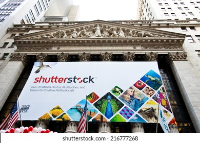 NEW YORK - OCTOBER 17, 2014:  Shutterstock banner displayed in front of the New York Stock Exchange on the day of the bell ringing ceremony to start trading under the ticker SSTK.