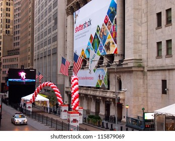 NEW YORK, OCTOBER 17: A Shutterstock banner hangs on the front of the New York Stock Exchange building in New York City, October 17, 2012. Shutterstock listed on the NYSE October 11, 2012.