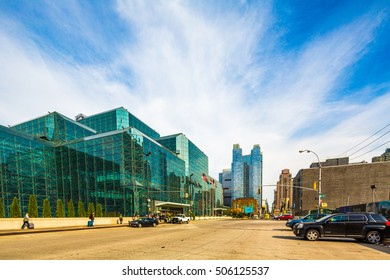 NEW YORK -October 21: Javits Convention Center and 11 ave in Manhattan on October 21, 2016