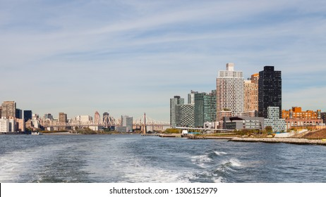 NEW YORK - OCTOBER 21:  Roosevelt Island on the East River, New York is pictured on October 21, 2017.  Queensboro Bridge passing over the island can be seen connecting Queens and Manhattan.