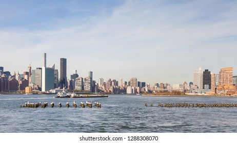 NEW YORK - OCTOBER 21:  The view across the East River looking towards Manhattan, New York City on October 21, 2017.  Roosevelt Island, Queensboro Bridge and Queens can be seen in the background.