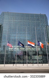 NEW YORK - OCTOBER 22, 2015: Jakob K. Javits Convention Center in Manhattan. The convention center has a total area space of 1,800, 000 square ft and has 840,000 square ft of total exhibit space