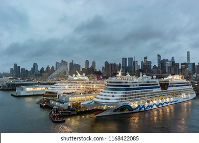 New York - October 22 2016: Aida Luna and Disney Magic Cruise Ships docked at the Manhattan Cruise Terminal