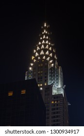 NEW YORK - OCTOBER 22:  A night time close up view of the Chrysler Building, New York City on October 22, 2017.  The building was the worlds tallest structure at the time of its completion in 1930.