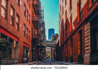 New York - October 2,2017 - Hidden alley scene on Staple Street in the historic Tribeca area of Manhattan, New York City NYC
