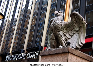 NEW YORK - OCTOBER 23: A stone eagle that was formerly located on the original Pennsylvania Station's exterior, shown October 23, 2011, now stands guard in front of Madison Square Garden in New York.