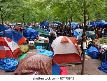 NEW YORK - OCTOBER 26: Protestors live in a tent village during the Occupy Wall Street movement, October 26, 2011 in New York City, NY. The protest against the financial system began in Zuccotti Park on September 17, 2011.