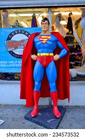 NEW YORK OCTOBER 27:Superman mannequin in front costume store on october 17, 2013 in NY. Superman character was created by Jerry Siegel and Joe Shuster in 1933
