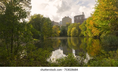 New York, New York - October 30, 2017: A scenic autumn view of Central Park in Manhattan, New York on October 30, 2017.