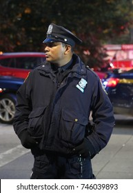 NEW YORK - OCTOBER 31, 2017: NYPD officer at the crime scene near a terror attack site in lower Manhattan in New York.