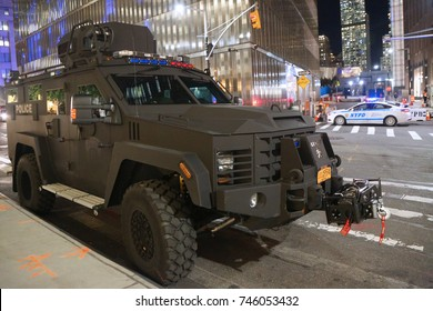 NEW YORK - OCTOBER 31, 2017: Port Authority Police armored vehicle near terror attack crime scene in lower Manhattan in New York.