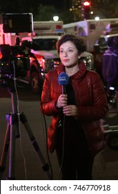 NEW YORK - OCTOBER 31, 2017: Euronews TV reporter near terror attack crime scene in lower Manhattan in New York.