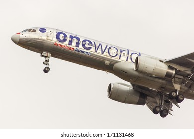 NEW YORK - OCTOBER 9: Boeing 757 American Airlines in One World livery departs from JFK in New York USA on October 9 2013. American is one of the oldest US airlines and one of the biggest in the world