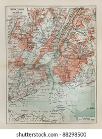 New York old map from the end of 19th century period
