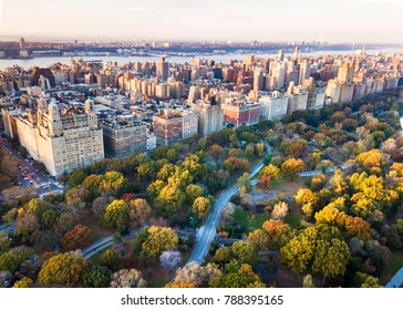 New York panorama shot from Central park, aerial view in autumn season