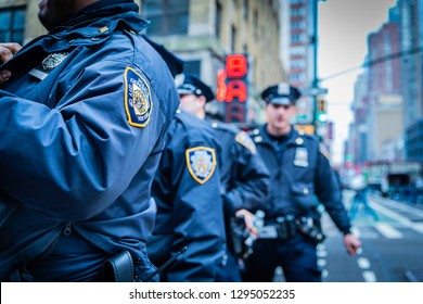 New York Police Department officers preparing for New Years Eve 2019 near Times Square, New York.