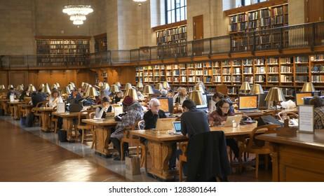New York Public Library in Manhattan - NEW YORK / USA - DECEMBER 4, 2018