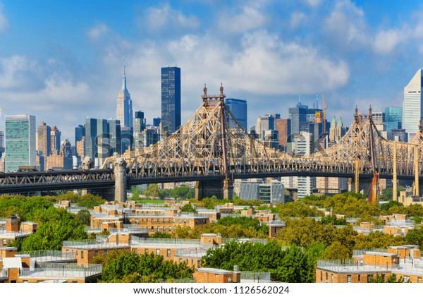 New York, Queensborough Bridge  across the East River between the Manhattan and  Long Island City in the borough of Queens. USA.