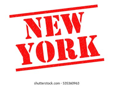 NEW YORK red Rubber Stamp over a white background.