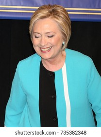 "NEW YORK - SEP 12, 2017: Hillary Clinton appears at Barnes and Noble to promote her new book ""What Happened"" on September 12, 2017, in New York City."