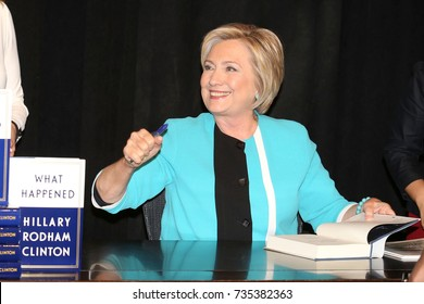 """NEW YORK - SEP 12, 2017: Hillary Clinton appears at Barnes and Noble to promote her new book """"What Happened"""" on September 12, 2017, in New York City."""