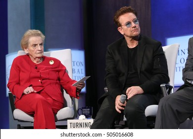 NEW YORK - SEP 19, 2016:  Madeleine Albright and Bono attend the Clinton Global Initiative Annual Meeting at The Shertaon New York Hotel on September 19, 2016 in New York City.