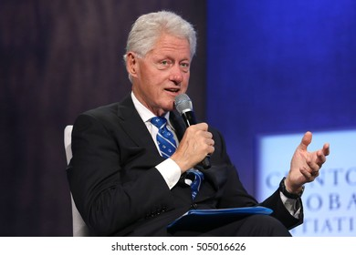 NEW YORK - SEP 19, 2016:  Bill Clinton attends the Clinton Global Initiative Annual Meeting at The Shertaon New York Hotel on September 19, 2016 in New York City.