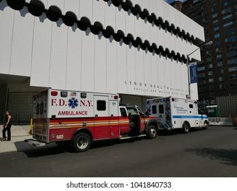 New York - Sep 2017: FDNY Ambulance Emergency car close to Lenox Health Greenwich Village on the Manhattan, New York City