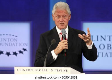 NEW YORK - SEP 21, 2016: Bill Clinton attends the Clinton Global Initiative Annual Meeting at The Shertaon New York Hotel on September 21, 2016 in New York City.