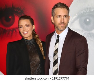 "NEW YORK - SEPT 10, 2018: Blake Lively and Ryan Reynolds attend the premiere of ""A Simple Favor"" at the Museum of Modern Art on September 10, 2018, in New York City."