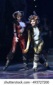 NEW YORK - Sept. 30, 2016: A cast member of the cast of CATS appears on stage during the curtain call of the Broadway show at the Neil Simon Theatre on September 30, 2016, in New York.