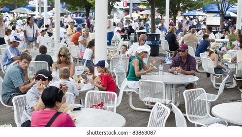 NEW YORK - SEPTEMBER 01: Food court at US Open at USTA Billie Jean King National Tennis Center on September 01, 2011 in New York City.